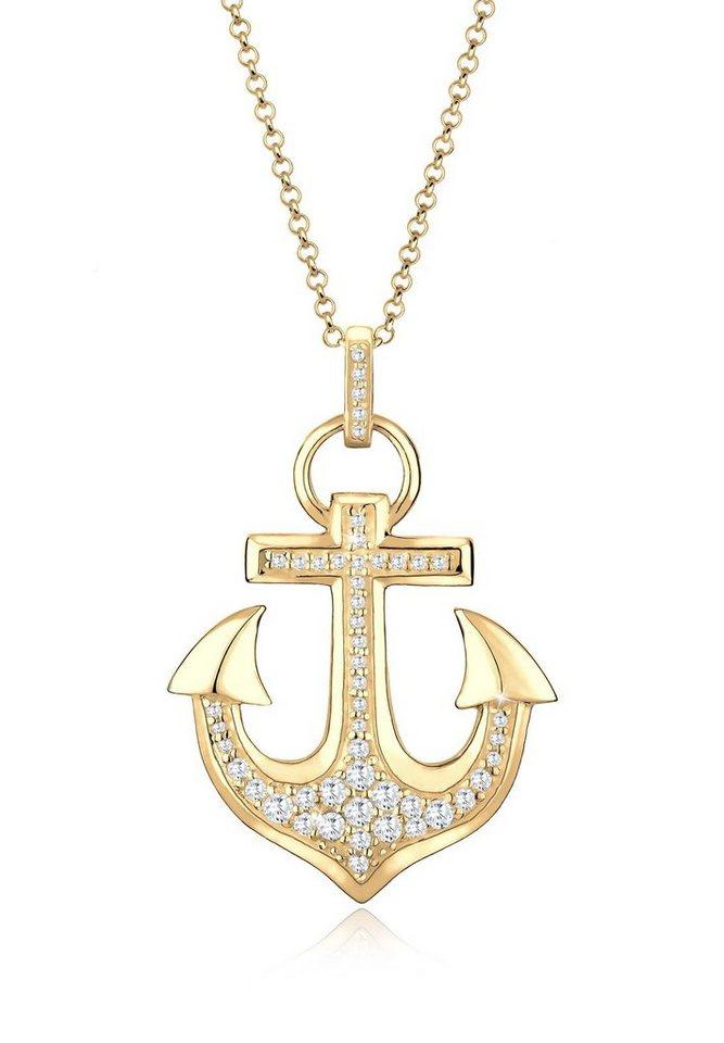 Goldhimmel Halskette »Anker Zirkonia 925 Sterling Silber« in Weiß