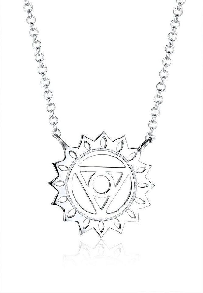 Elli Halskette »Chakra Lotusblüte 925 Sterling Silber« in Silber