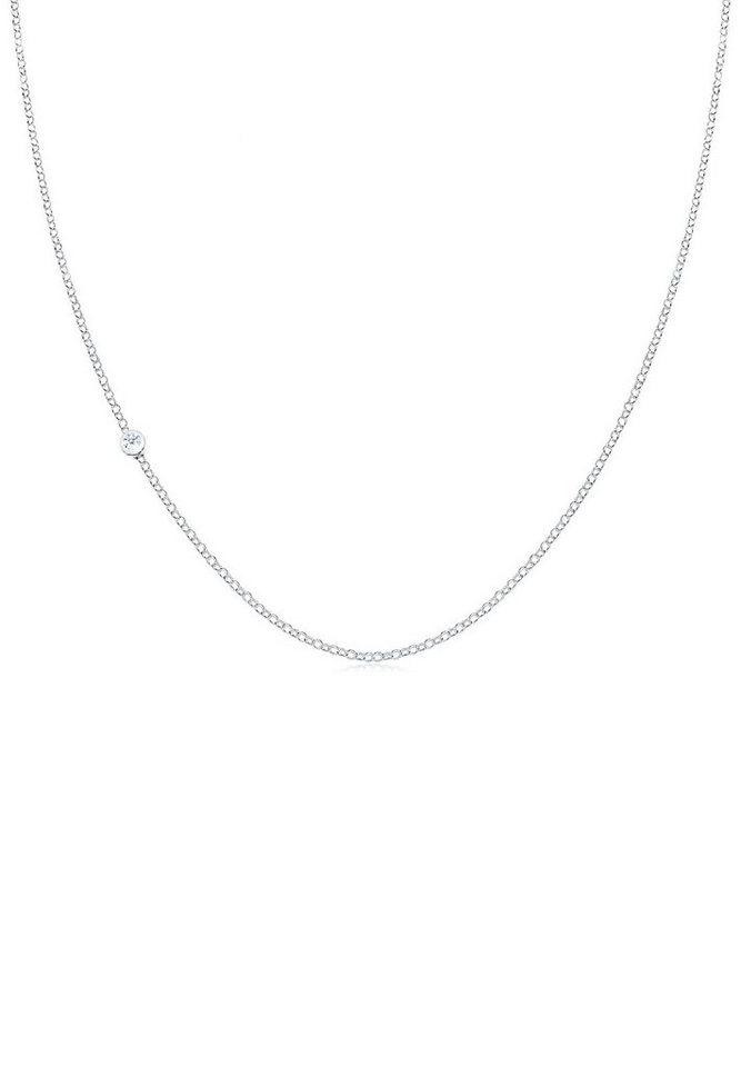 Elli Halskette »Basic Diamant 925 Sterling Silber« in Weiß