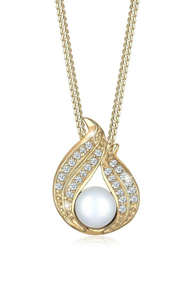 Diamore Halskette »585 Gelbgold Diamant Süßwasserzuchtperlen« in Weiß