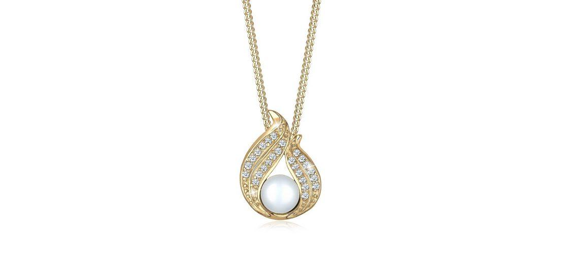 Diamore Halskette »585 Gelbgold Diamant Süßwasserzuchtperlen«