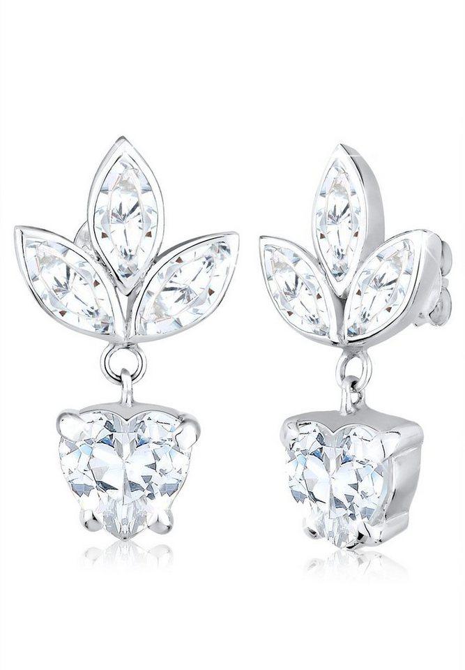 Elli Ohrringe »Blume Floral Zirkonia 925 Sterling Silber« in Weiß
