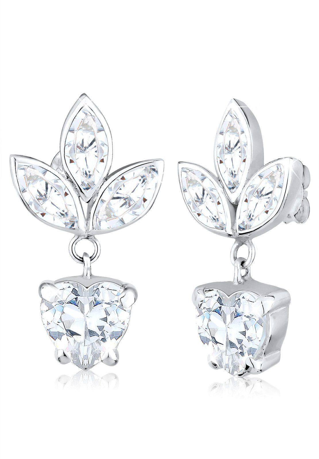 Elli Ohrringe »Blume Floral Zirkonia 925 Sterling Silber«