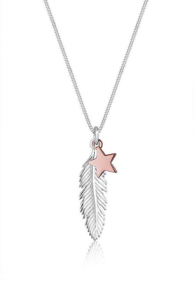 Elli Halskette »Feder Stern Bi-Color 925 Silber« in Silber