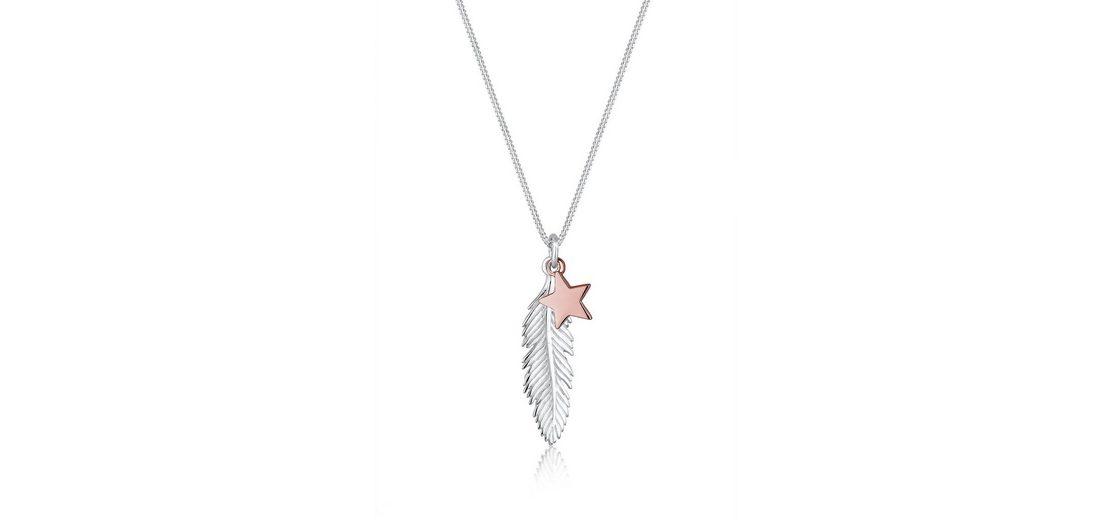 Elli Halskette »Feder Stern Bi-Color 925 Silber«
