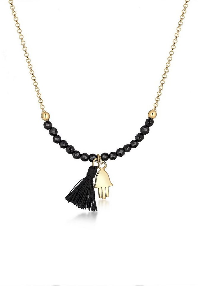 Elli Halskette »Hamsa Hand Fassel Onyx 925 Sterling Silber« in Schwarz