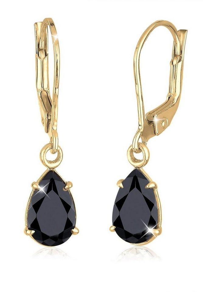 Goldhimmel Ohrringe »Tropfen Klassisch Swarovski® Kristalle vergoldet« in Schwarz