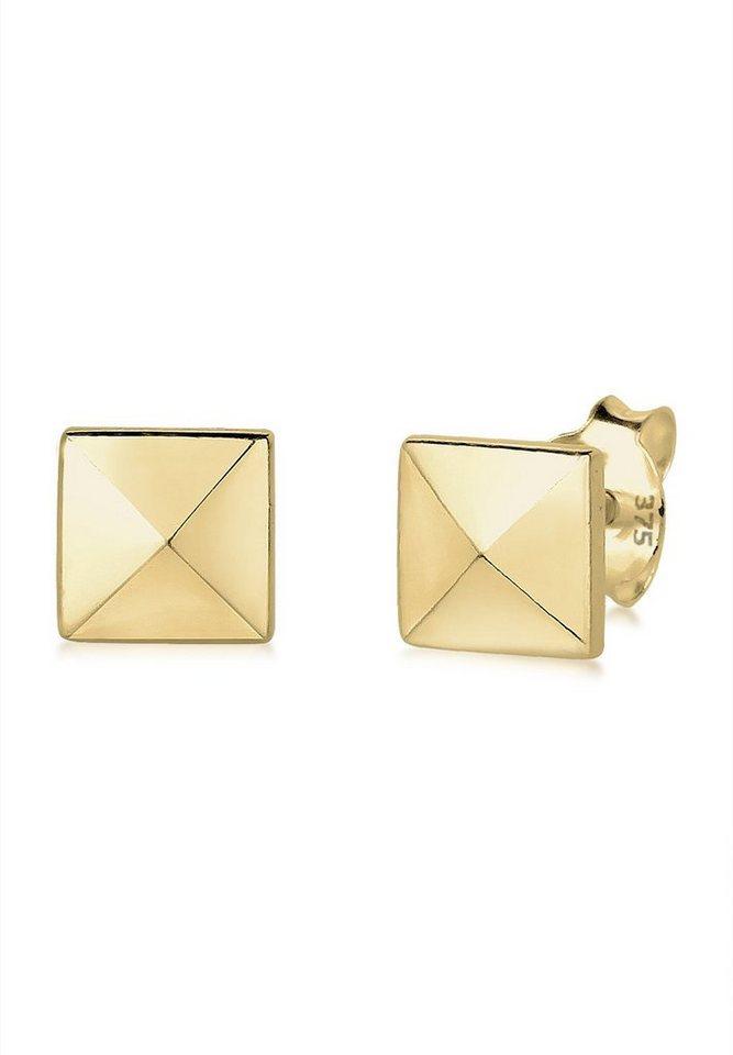 Elli Ohrringe »Viereck Geo Niete Trend Filigran 375 Gelbgold« in Gold