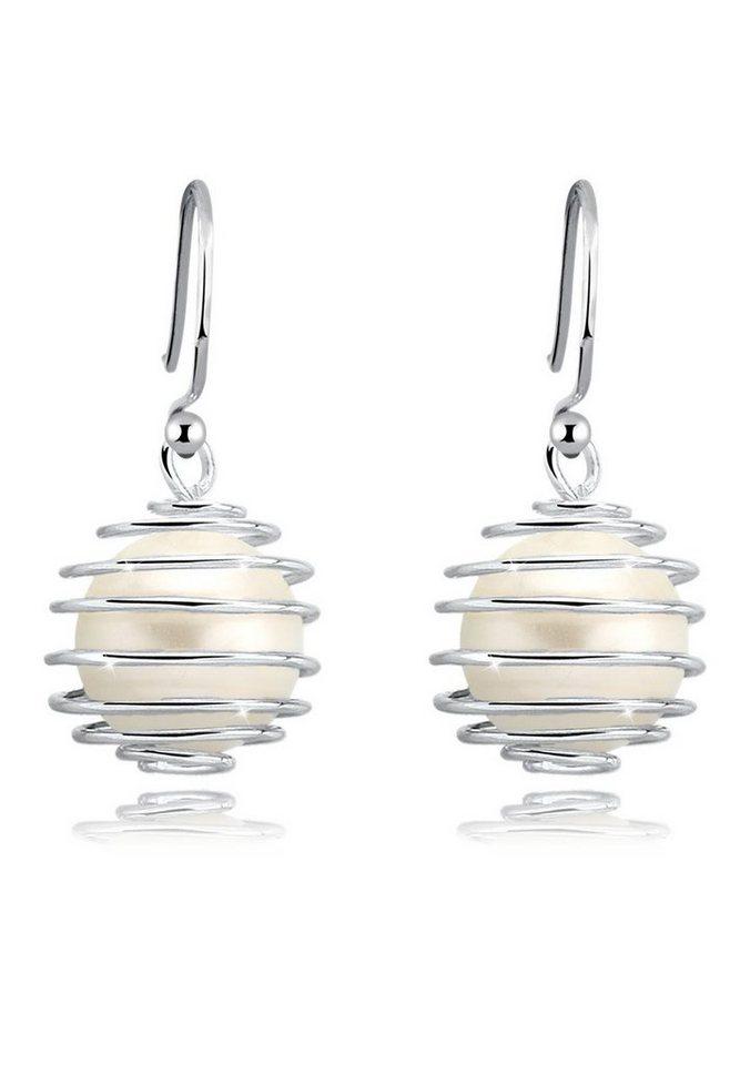 Elli Ohrringe »925 Sterling Silber Spirale Perlen« in Weiß
