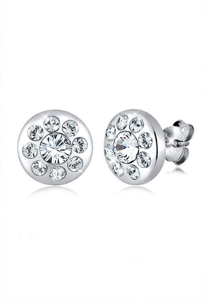 Elli Ohrringe »Kreis Elegant Swarovski® Kristalle Funkelnd Silber« in Weiß