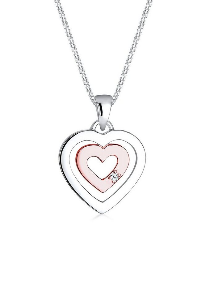 Diamore Halskette »Herz Diamant Bi-Color 925 Sterling Silber« in Weiß
