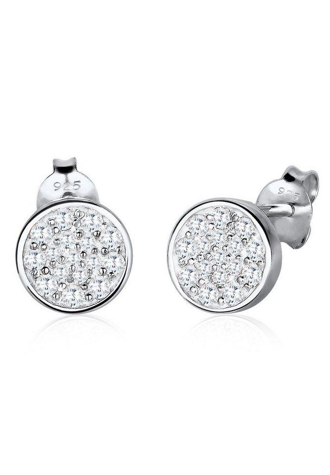 Elli Ohrringe »Kreis Funkelnd Elegant Zirkonia 925 Silber« in Weiß