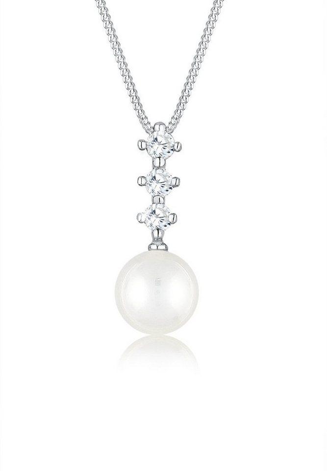 Elli Halskette »Zirkonia Perle 925 Silber« in Silber