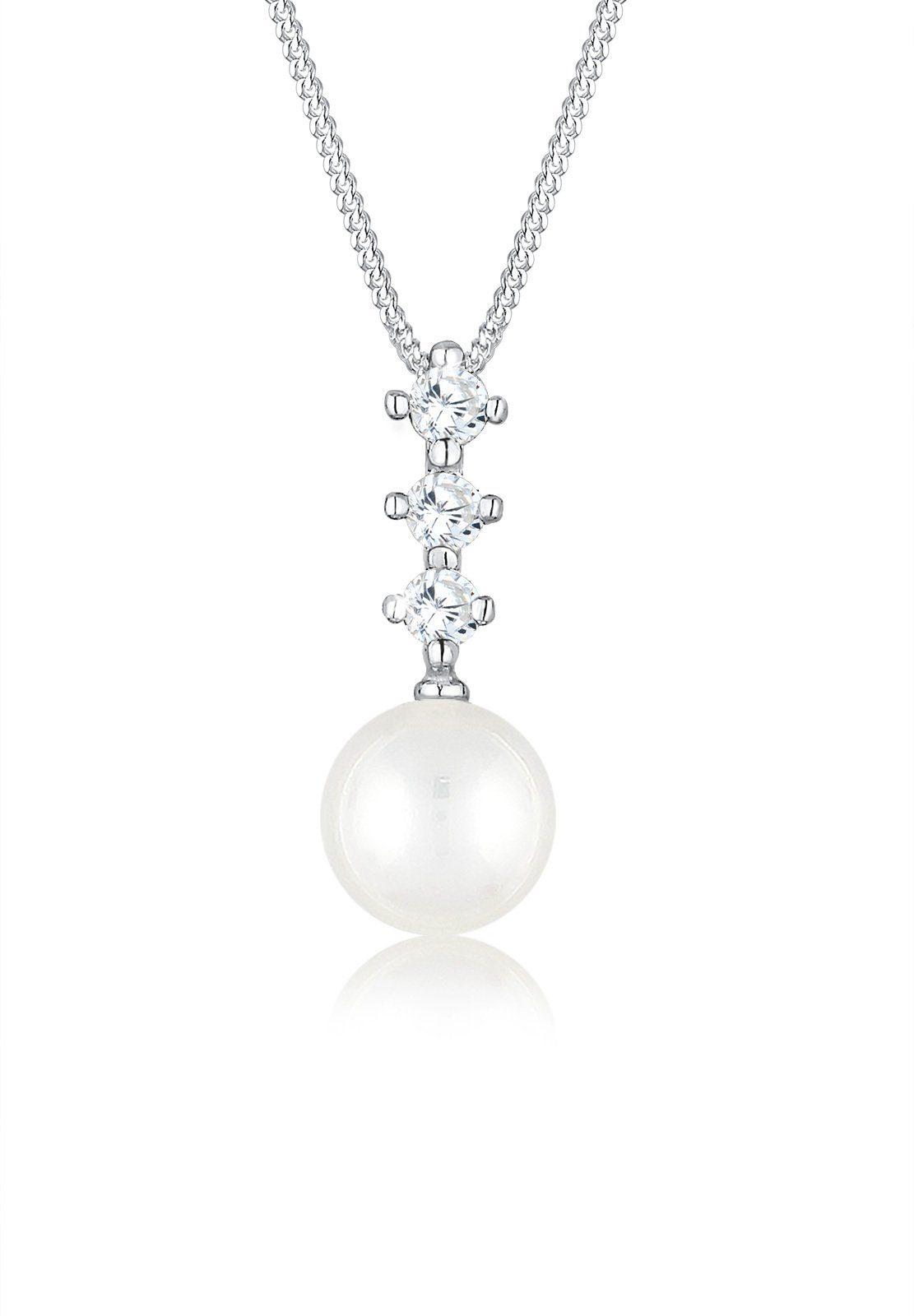 Elli Halskette »Zirkonia Perle 925 Silber«