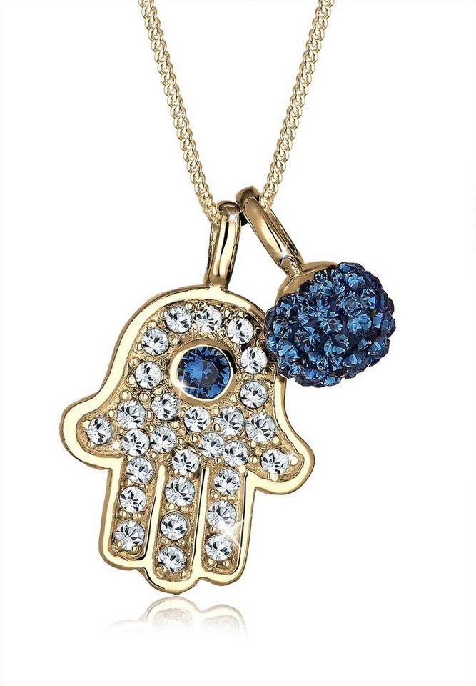 Elli Halskette »Hamsa Ball Swarovski® Kristall 925 Sterling Silber« in Blau