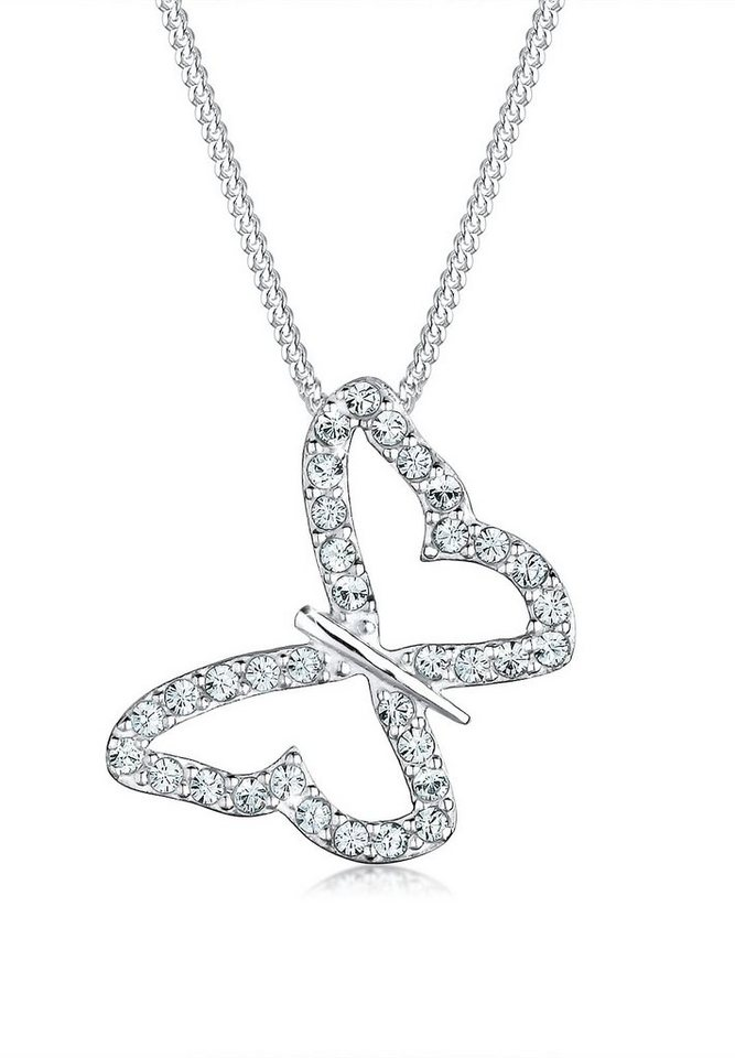 Elli Halskette »Sterling Silber Schmetterling Swarovski Kristalle« in Weiß