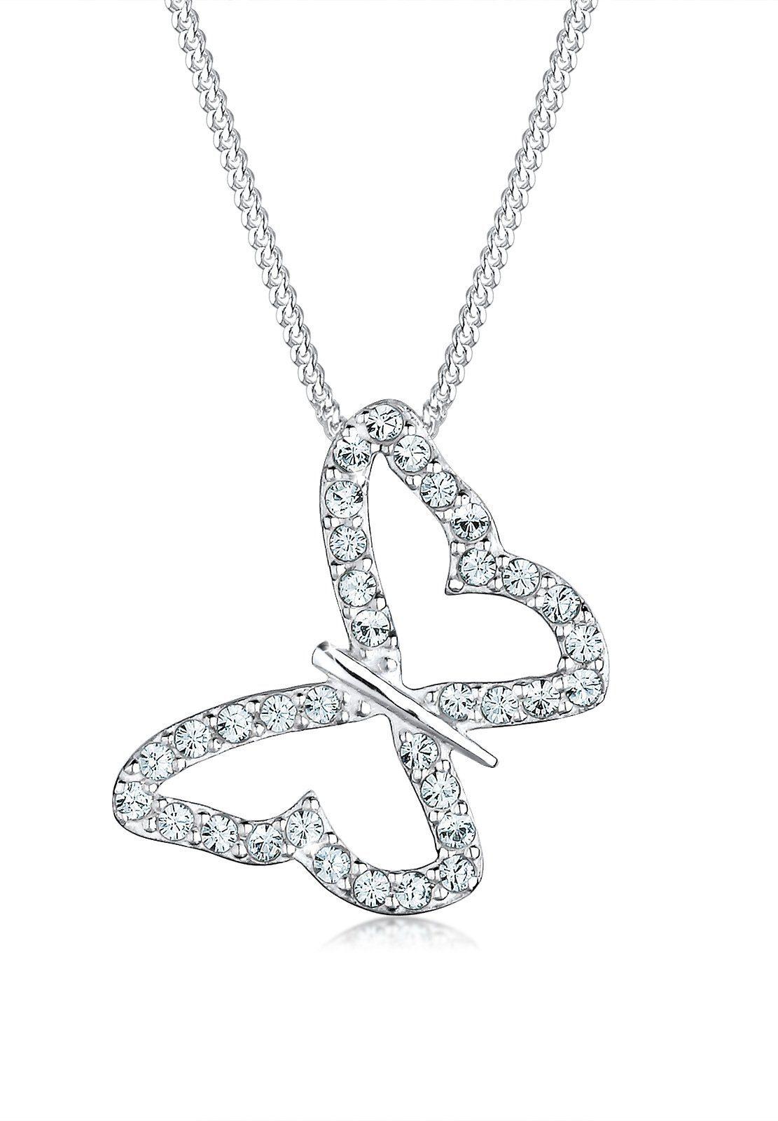 Elli Halskette »Sterling Silber Schmetterling Swarovski Kristalle«
