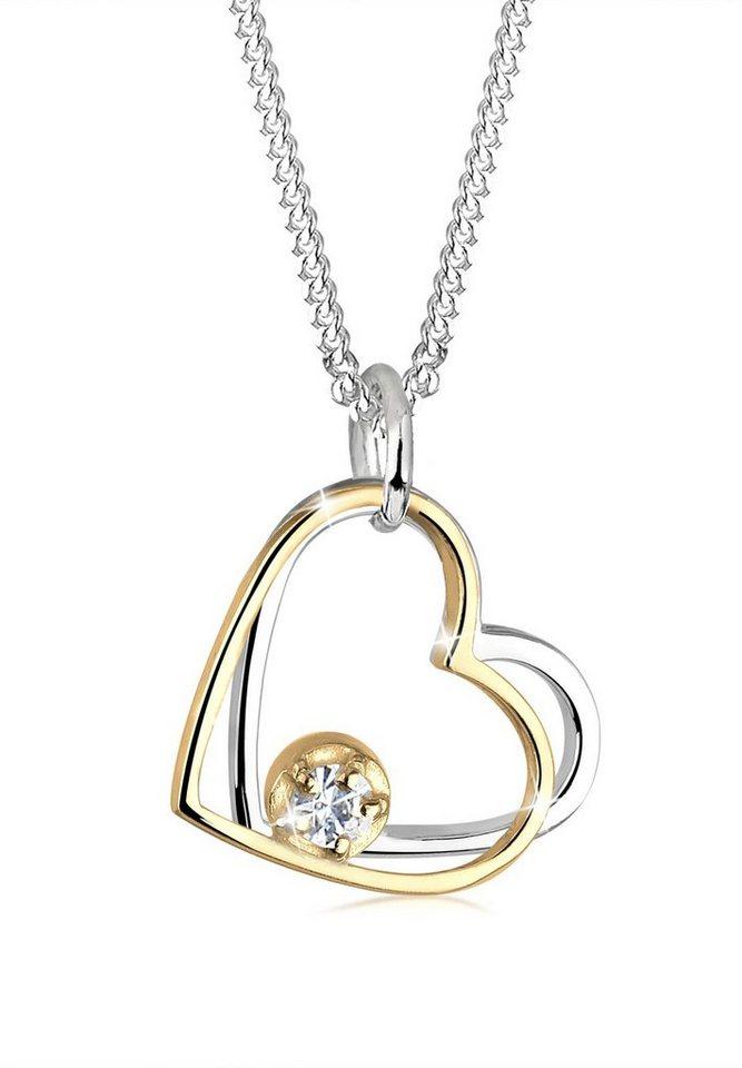 Elli Halskette »Herz Swarovski® Kristalle 925 Sterling Silber« in Weiß