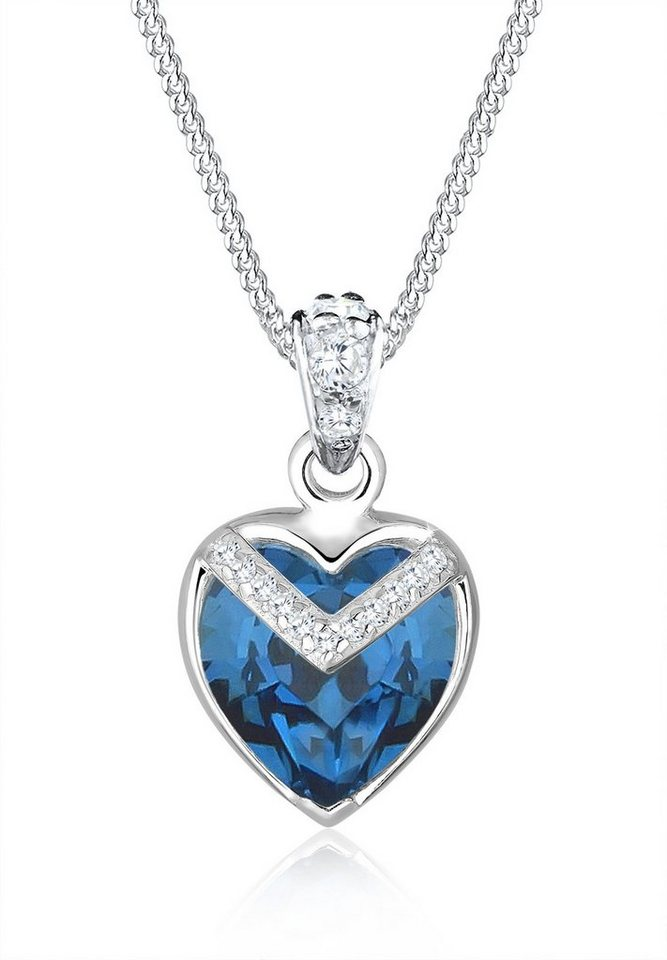 Elli Halskette »Herz V Swarovski® Kristalle 925 Sterling Silber« in Blau