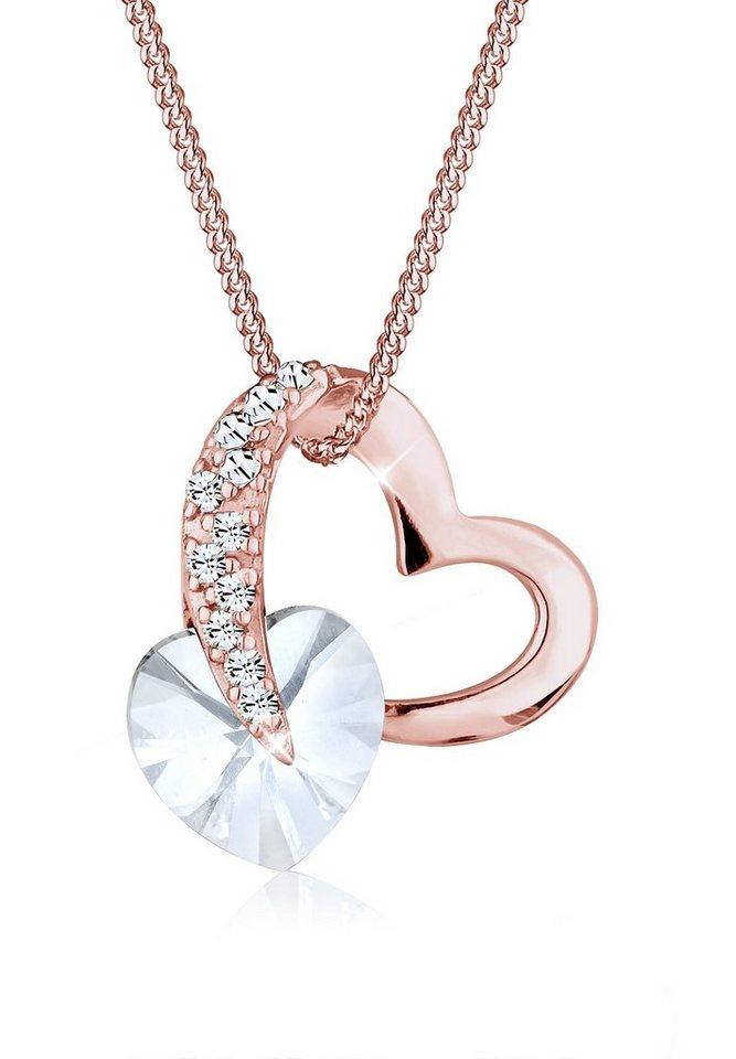 Elli Halskette »Herz Swarovski® Kristalle Silber rosé vergoldet« in Weiß