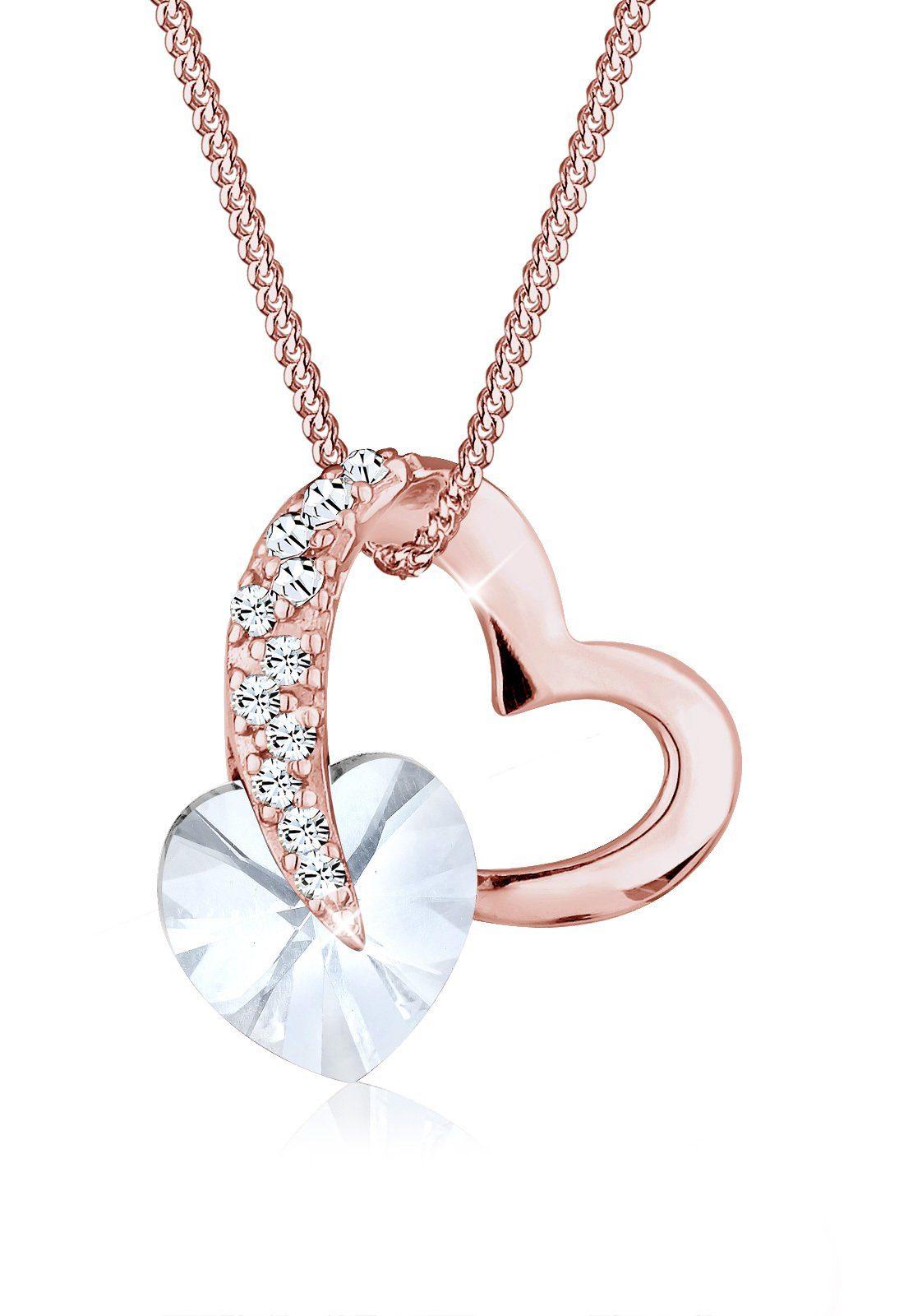 Elli Halskette »Herz Swarovski® Kristalle Silber rosé vergoldet«