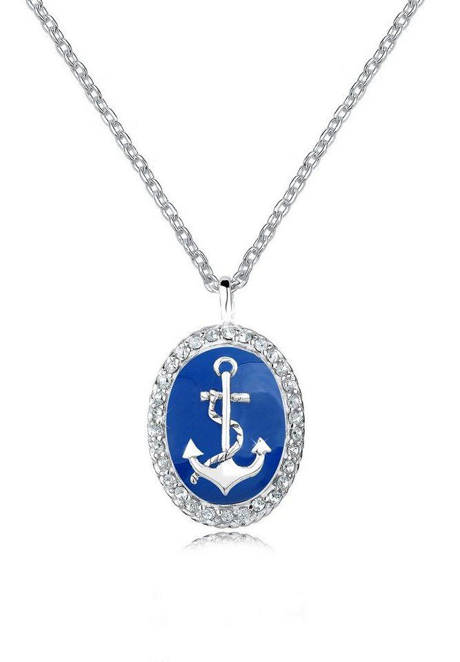 Elli Halskette »Anker Emaille Swarovski® Kristalle Sterling Silber« in Blau