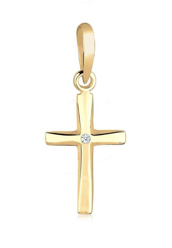 Elli Anhänger »Kreuz Diamant 585 Gelbgold« in Weiß