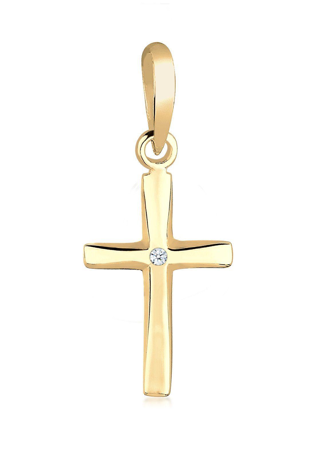 Elli Anhänger »Kreuz Diamant 585 Gelbgold«