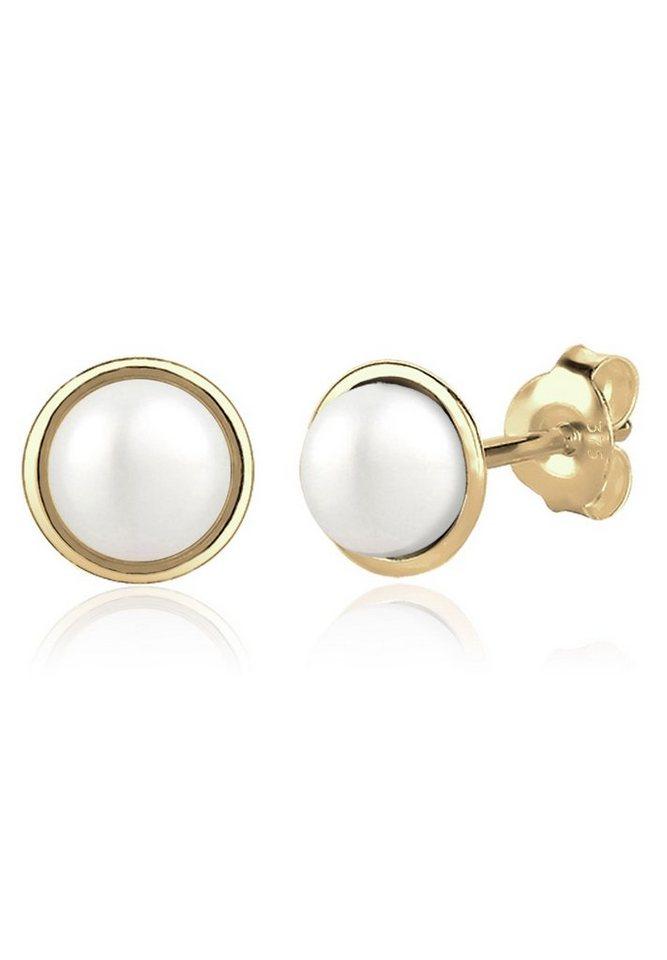Elli Ohrringe »Perlenkugel Süßwasserzuchtperle Basic 375 Gelbgold« in Weiß