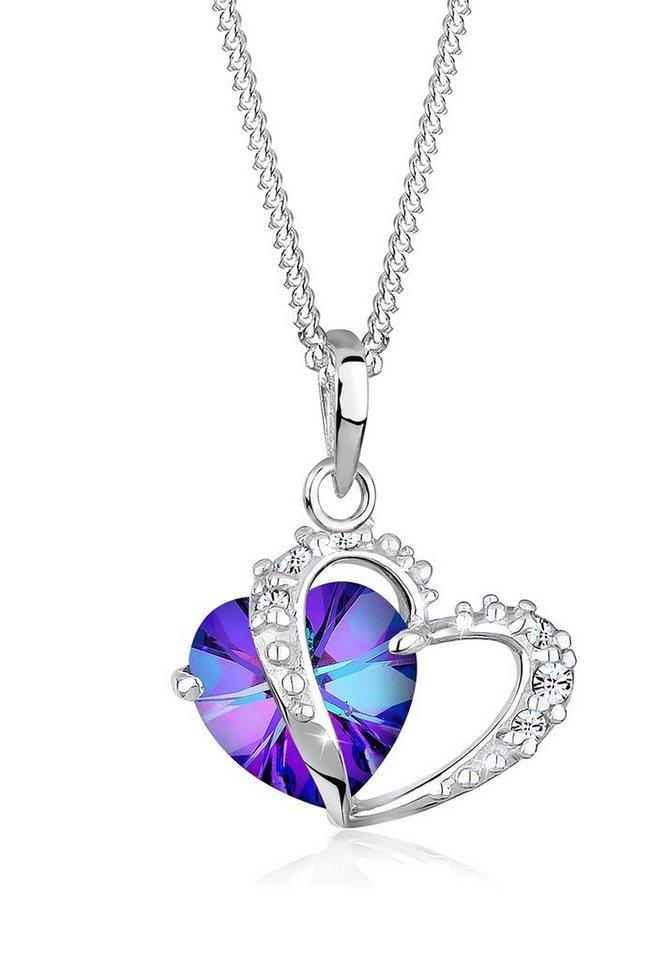 Elli Halskette »Herz Duo Swarovski® Kristalle 925 Sterling Silber« in Violett