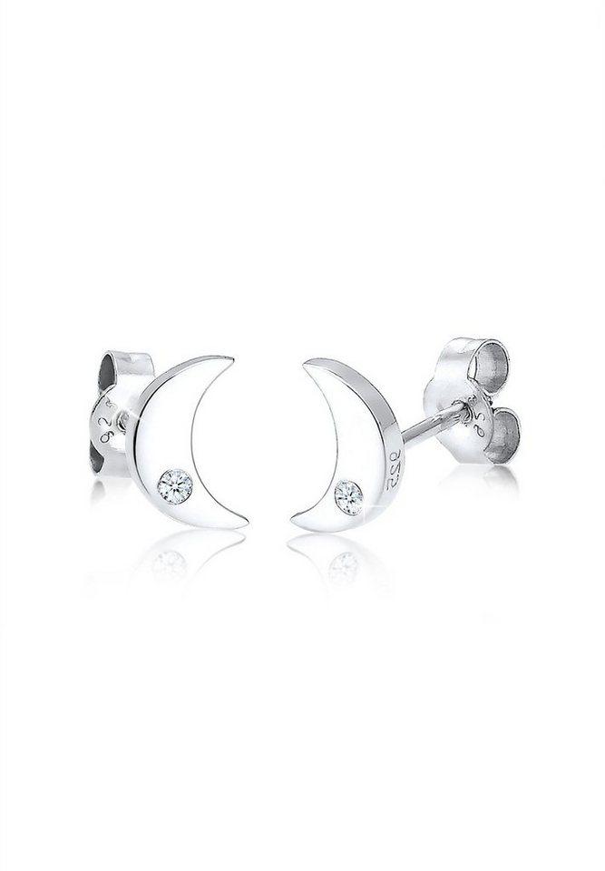 Elli Ohrringe »Halbmond Diamant 925 Sterling Silber« in Weiß
