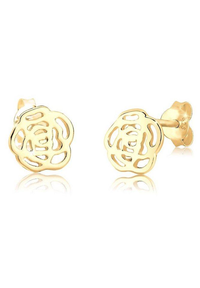 Goldhimmel Ohrringe »Rose Blume Cut Out Floral Romantik 925 Silber« in Gold