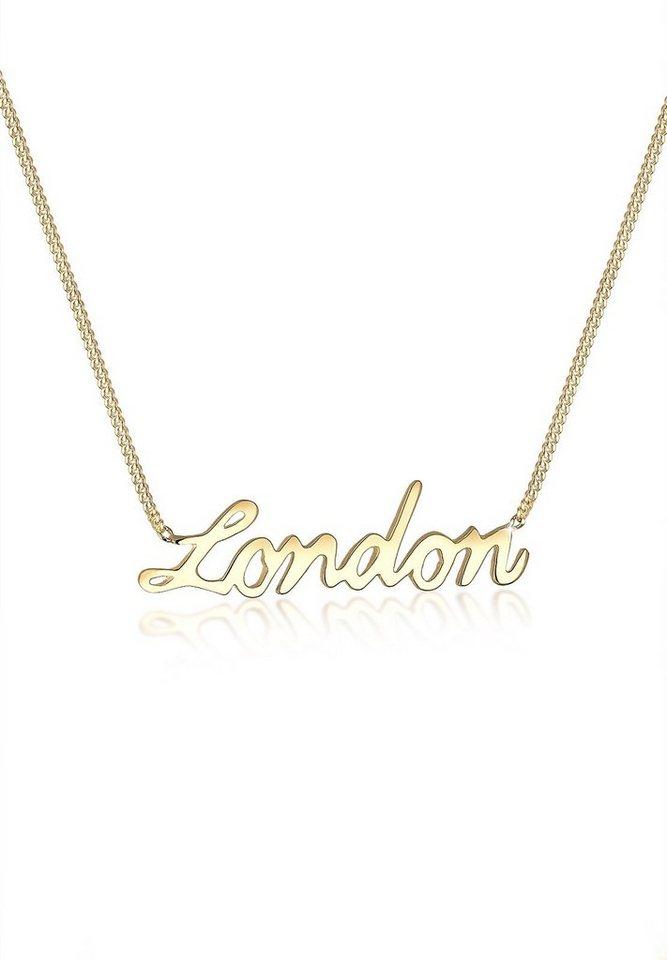 Elli Halskette »London Statement-Schriftzug 925 Sterling Silber« in Gold