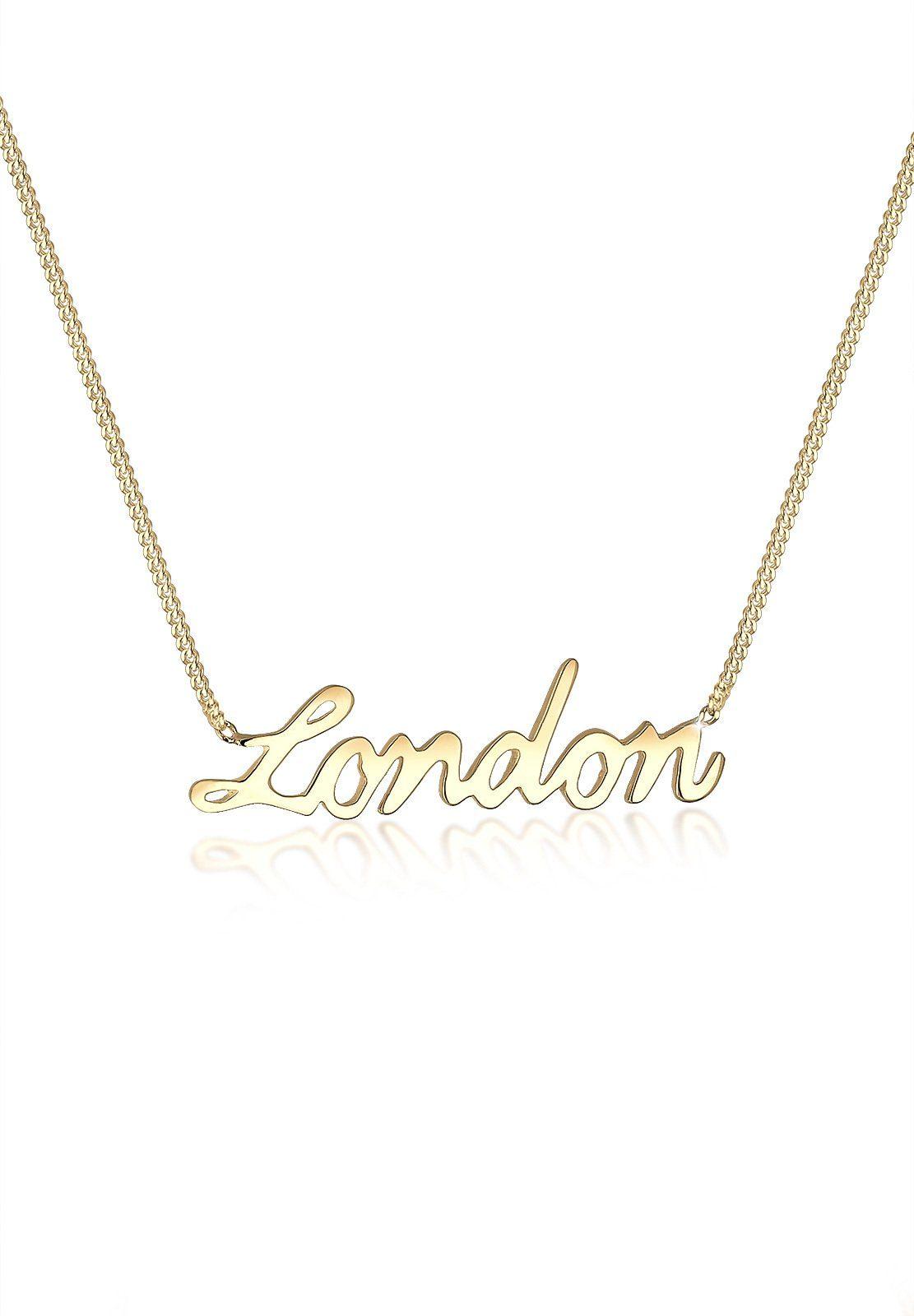 Elli Halskette »London Statement-Schriftzug 925 Sterling Silber«