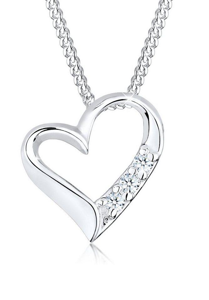 Diamore Halskette »Herz Funkelnd Geschwungen 925 Sterling Silber« in Silber