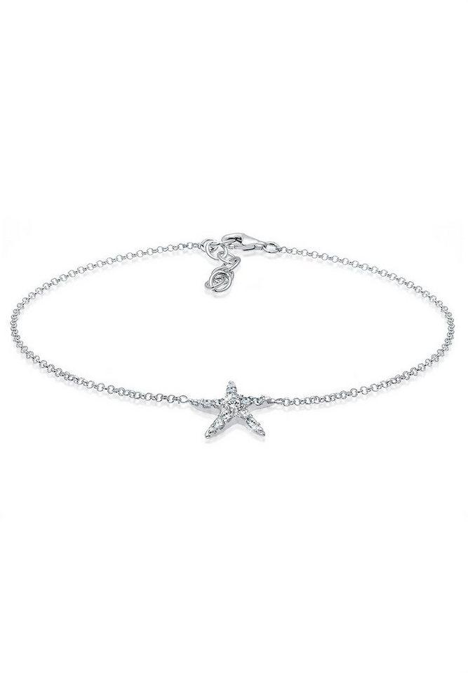 Elli Fußschmuck »Seestern Swarovski Kristalle 925 Sterling Silber« in Silber