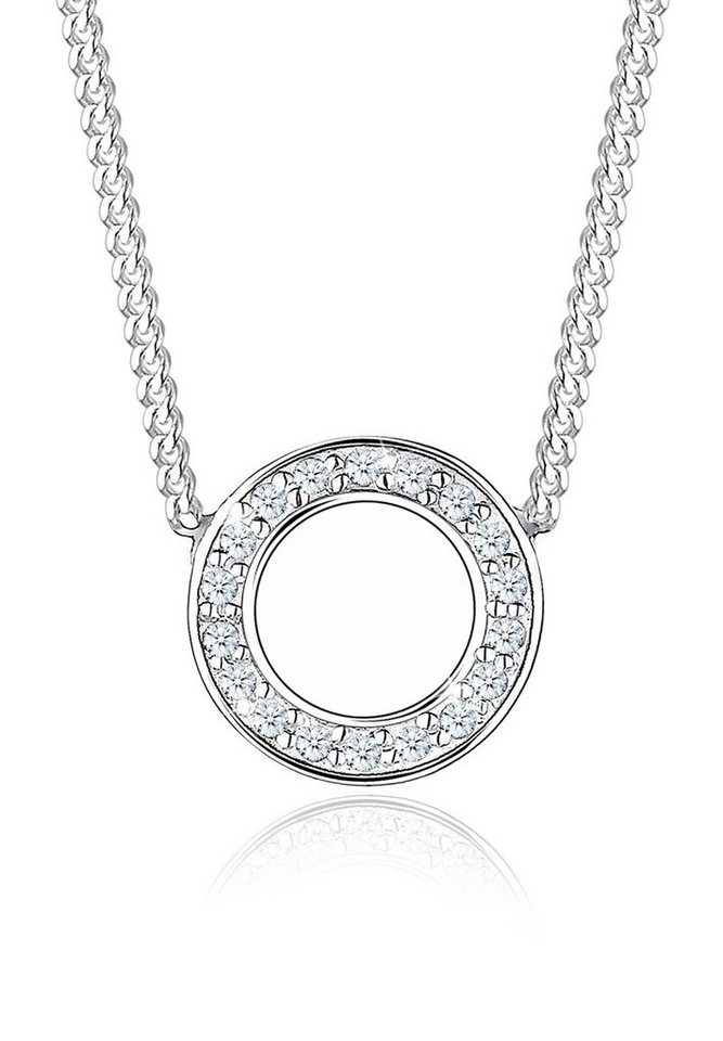 Diamore Halskette »925 Sterling Silber Kreis Diamant« in Silber