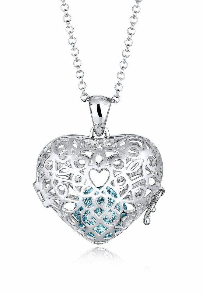 Elli Halskette »Herz Ornament Swarovski® Kristalle 925 Silber« in Hellblau
