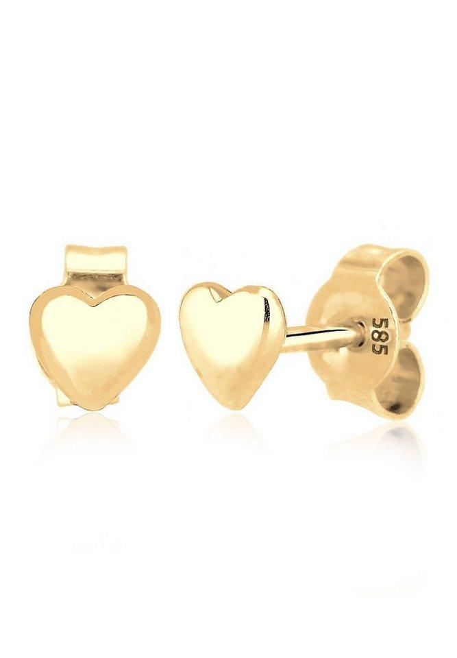 Elli Ohrringe »Herz Liebe Freundschaft Geschenk 585 Gelbgold« in Gold