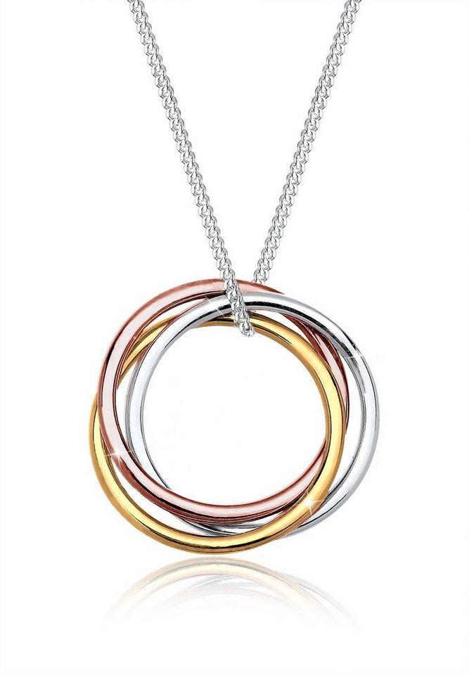 Elli Halskette »Kreis Tricolor 925 Sterling Silber« in Silber
