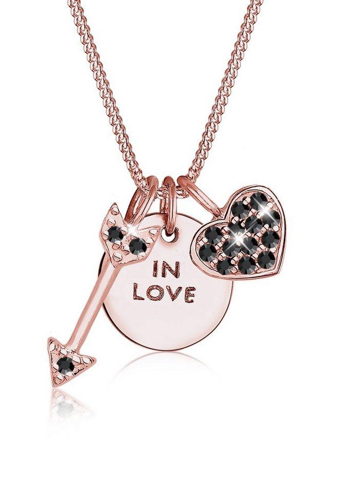 Elli Halskette »Love Herz Pfeil Swarovski® Kristalle 925 Silber« in Schwarz
