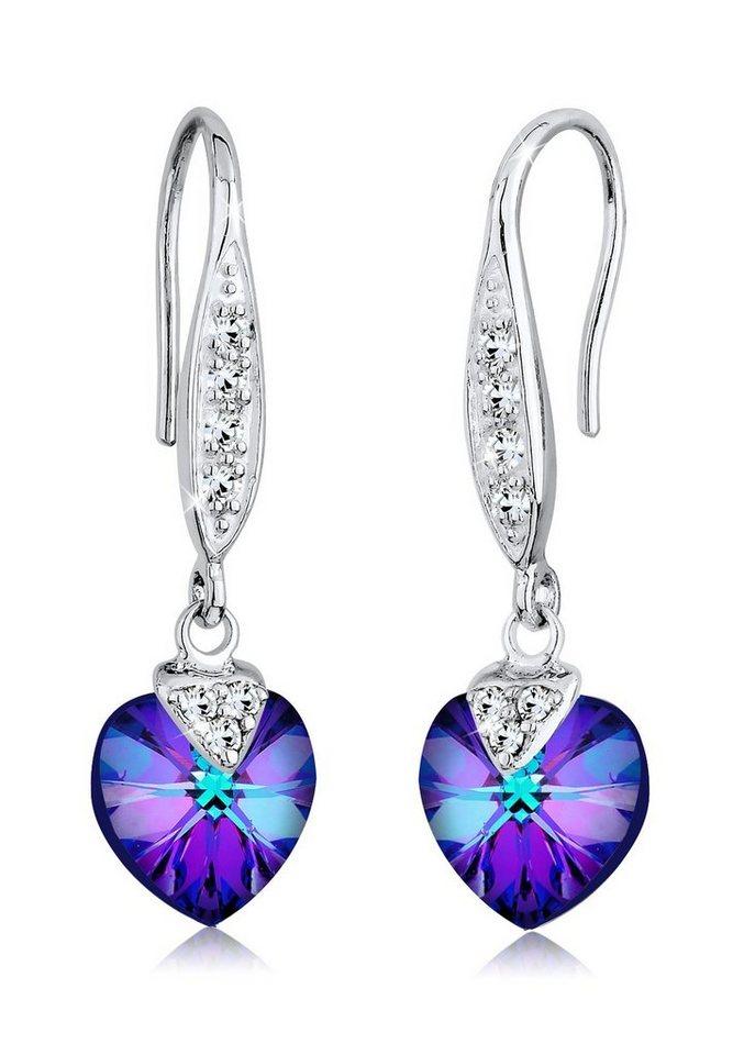 Elli Ohrringe »Herz Swarovski® Kristalle 925 Sterling Silber« in Violett