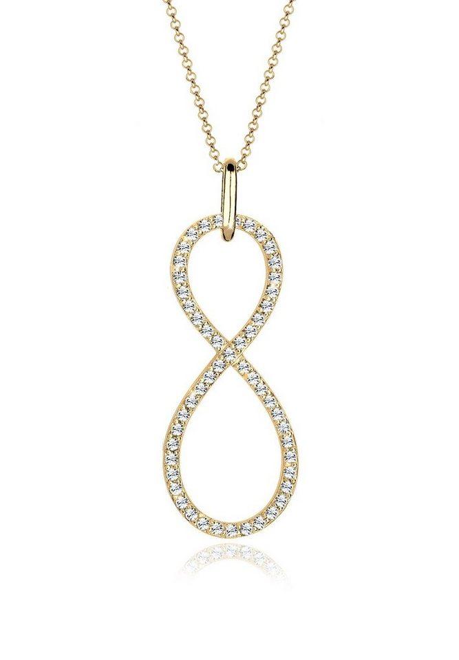 Elli Halskette »Infinity Swarovski Kristalle 925 Sterling Silber« in Gold