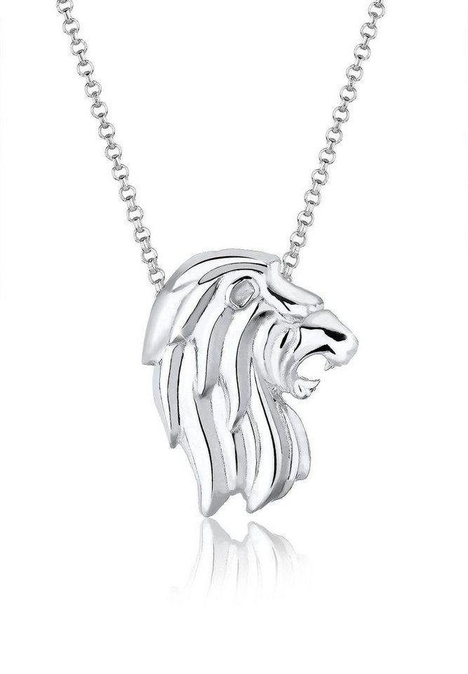 Elli Halskette »Löwenkopf 925 Sterling Silber« in Silber