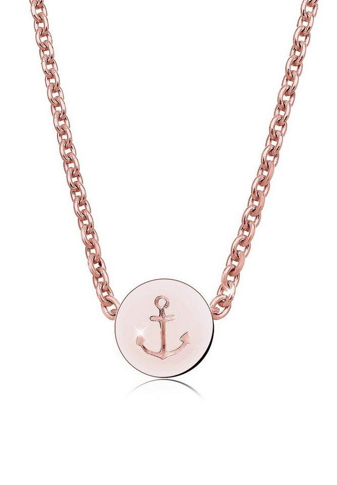 Elli Halskette »Anker Maritim 925 Sterling Silber« in Rosegold