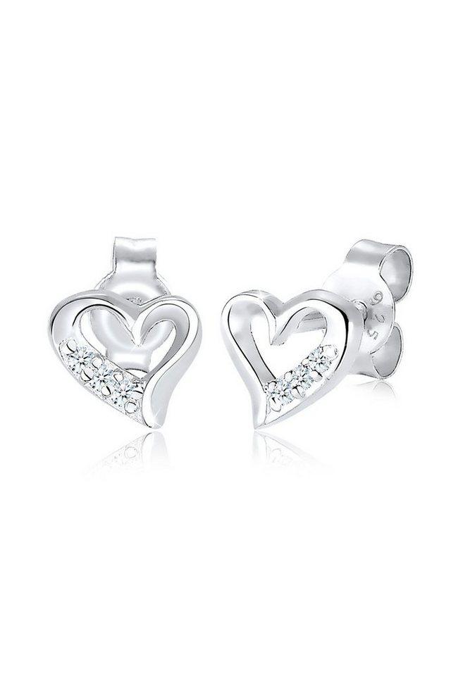 Diamore Ohrringe »Herz Diamant Geschenk Liebe Brillant Edel Silber« in Silber