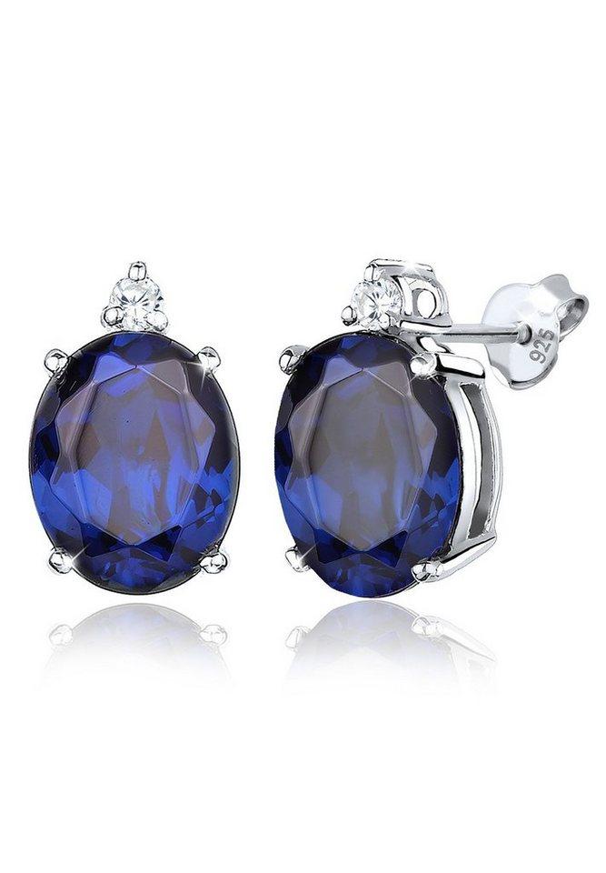 Elli Ohrringe »Saphirblau Zirkonia Elegant Klassisch 925 Silber« in Blau