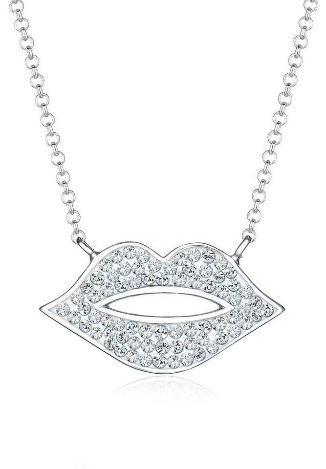 Elli Halskette »Kussmund Swarovski® Kristalle 925 Sterling Silber« in Weiß
