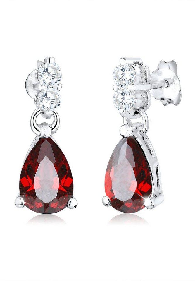 Elli Ohrringe »Tropfen Zirkonia Glamour Elegant 925 Silber« in Rot