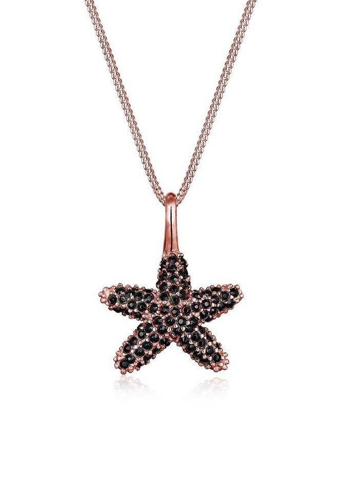 Elli Halskette »Seestern Swarovski® Kristalle 925 Sterling Silber« in Schwarz